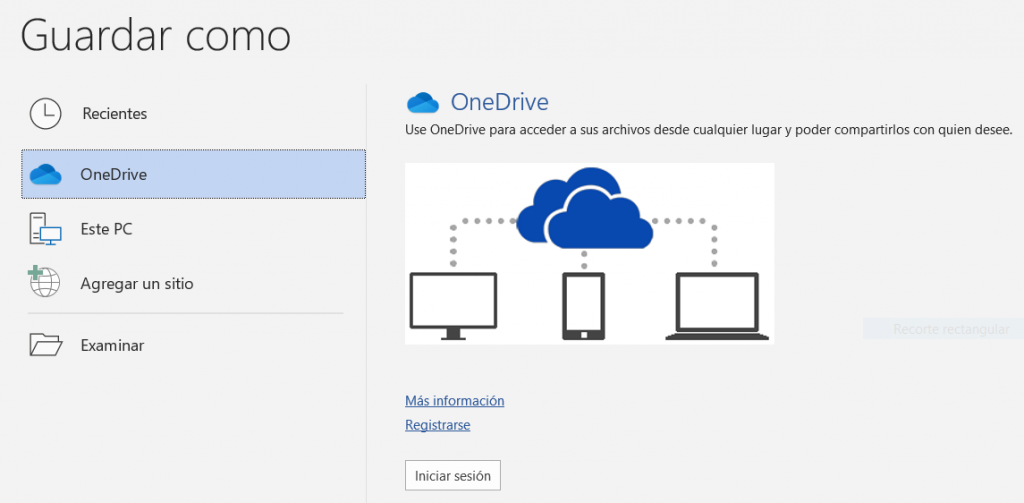 Guardar un fichero en OneDrive